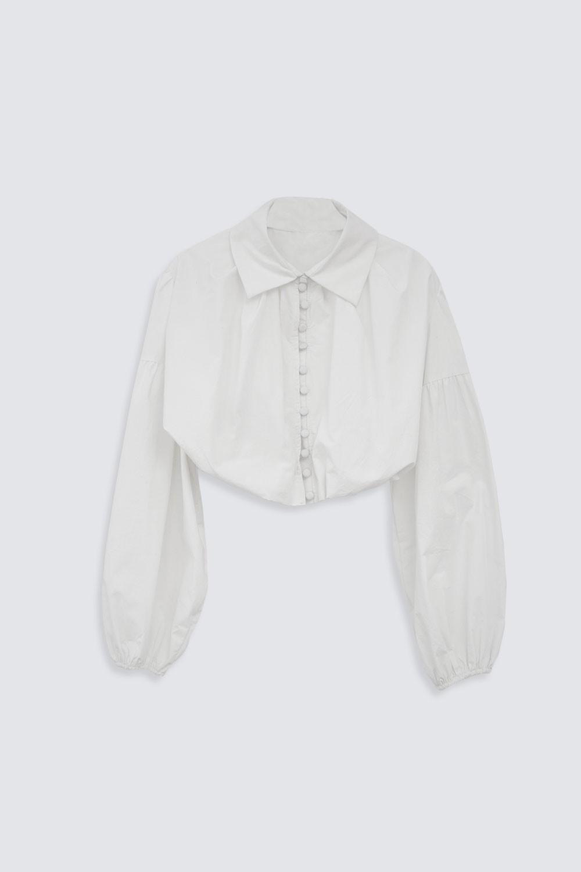 CROP TOP DÜĞMELİ Kırık Beyaz Kadın Gömlek