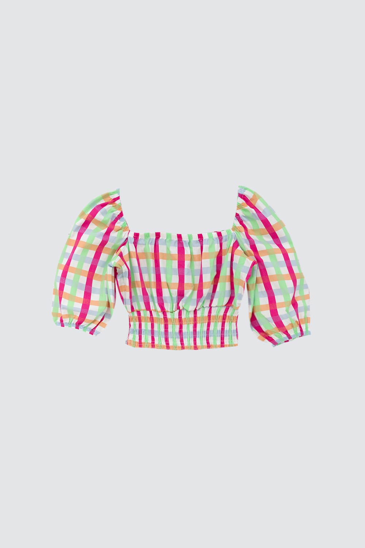 Ekose Düğme Detaylı Renkli Kadın Crop Top