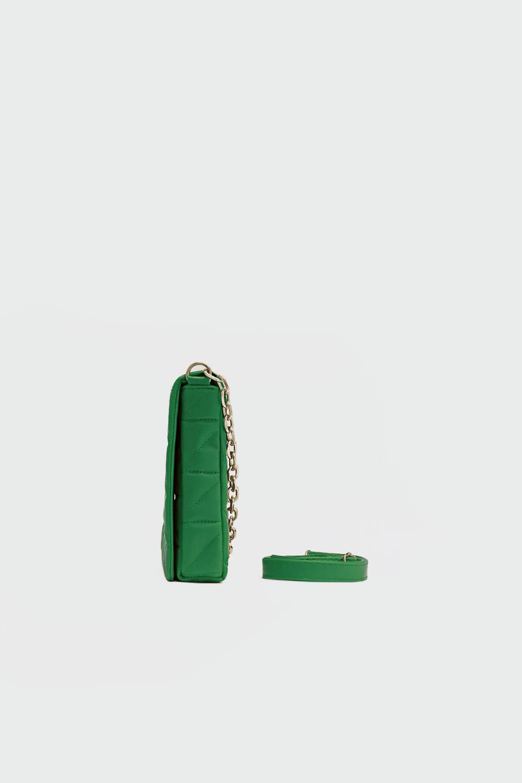 Cuphea Çapraz Desenli Kapitone Yeşil Kadın Çanta