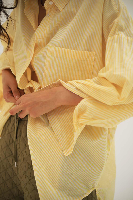 Dikey Çizgili Asimetrik Kesim Sarı Kadın Gömlek
