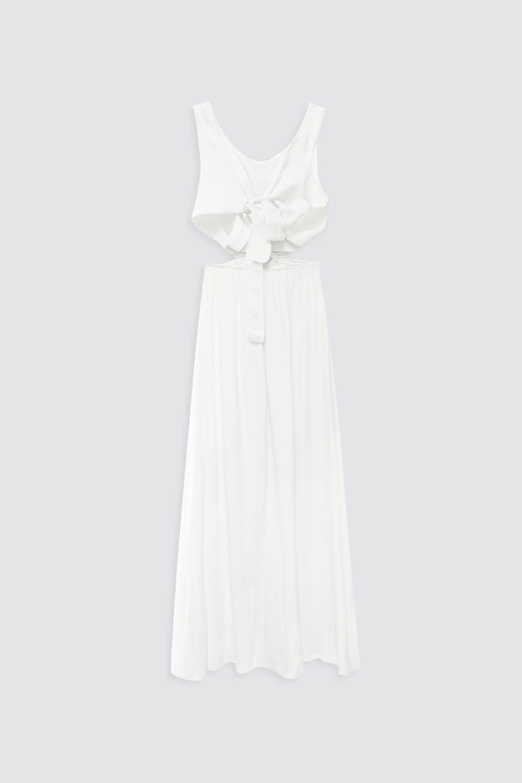 Beli Dekolteli Kolsuz Uzun Beyaz Kadın Elbise