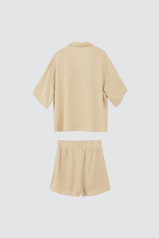 Keten Gömlek Şort Vizon Kadın Takım