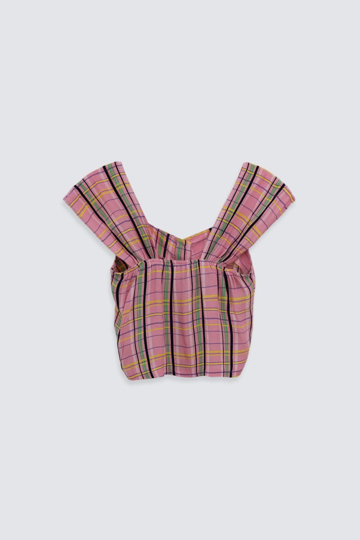 Ekose Desenli Düğmeli Kısa Kollu Pembe Kadın Gömlek