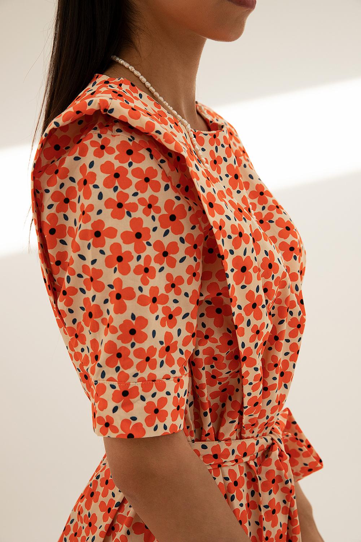 Çiçekli Poplin Kumaş Vatkalı Turuncu Kadın Elbise