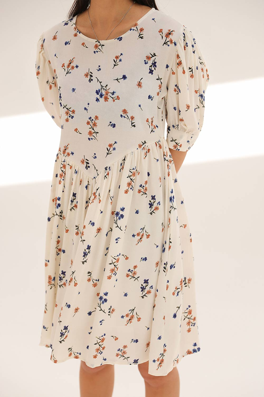 ÇİÇEKLİ KISAKOLLU MİNİ Beyaz Kadın Elbise