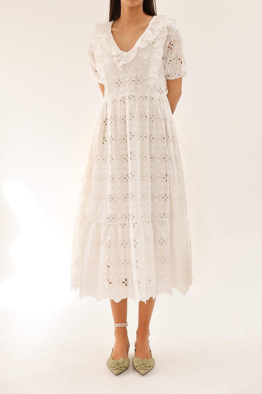 Gupür detaylı çiçekli Beyaz Kadın Elbise