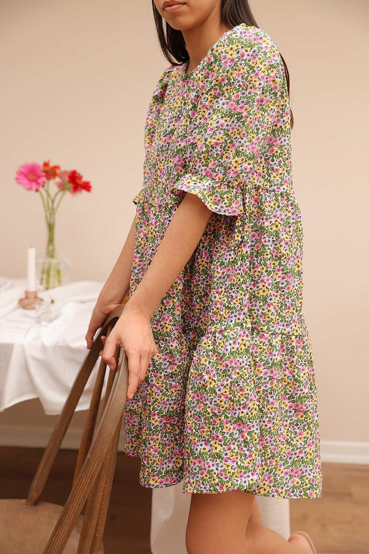 Kolları Lastikli mini Çiçekli Renkli Kadın Elbise