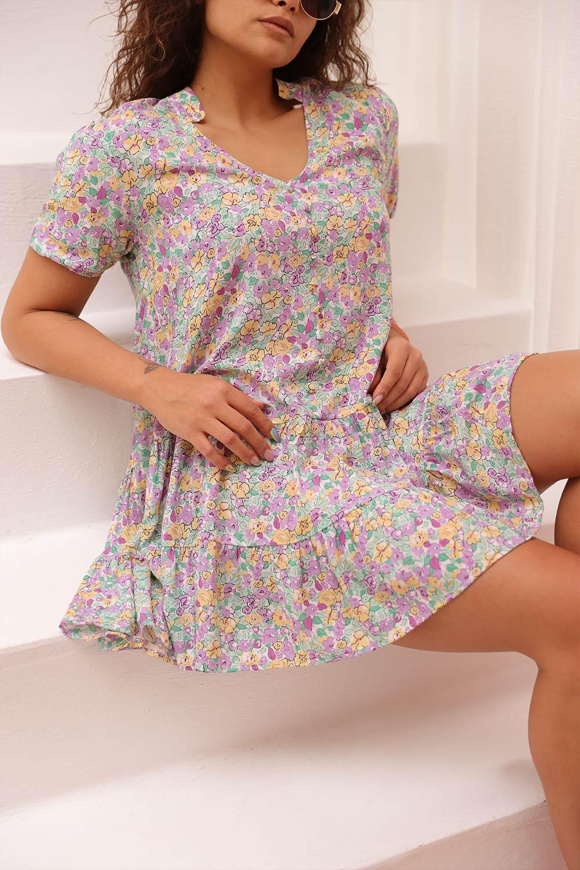 ÇİÇEK BASKILI RENKLİ BASİC Renkli Kadın Elbise
