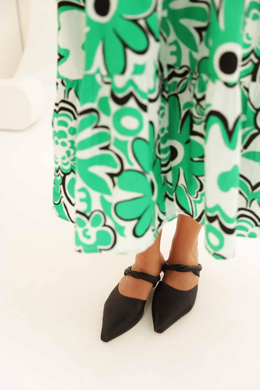 Büyük Çiçekli Kolu Lastikli Yeşil Kadın Elbise