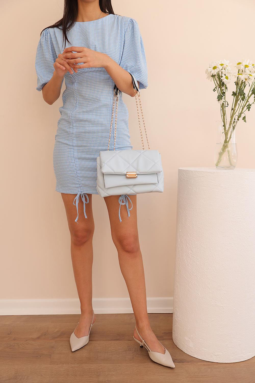 BALON KOL KARELİ MİNİ Mavi Kadın Elbise