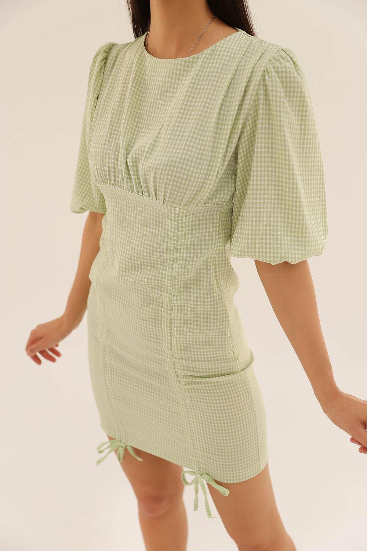 BALON KOL KARELİ MİNİ Yeşil Kadın Elbise