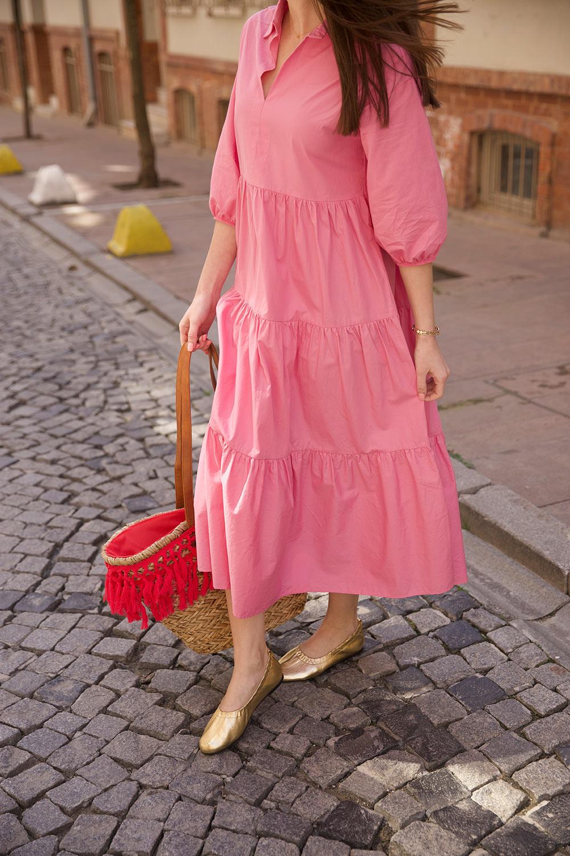 POPLİN KUMAŞ GÖMLEK Pembe Kadın Elbise