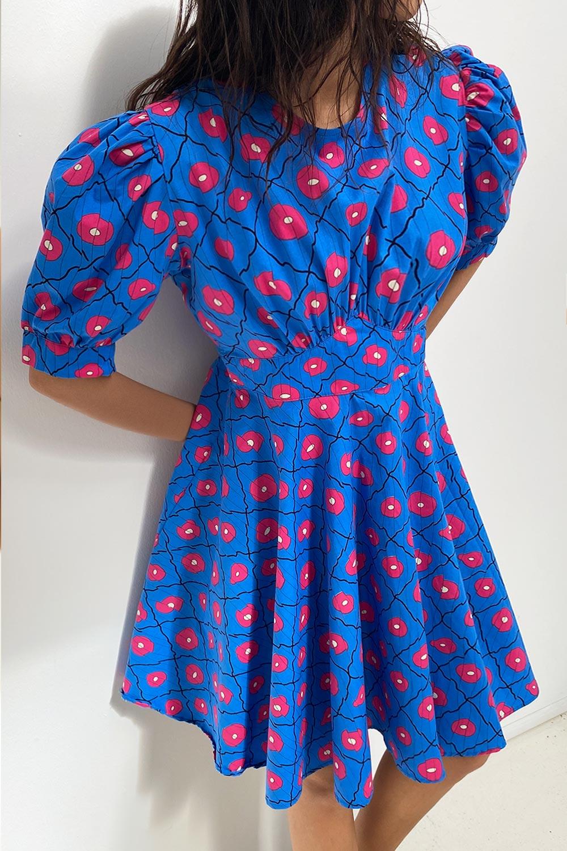 Desenli Balon Kol Mavi Kadın Elbise