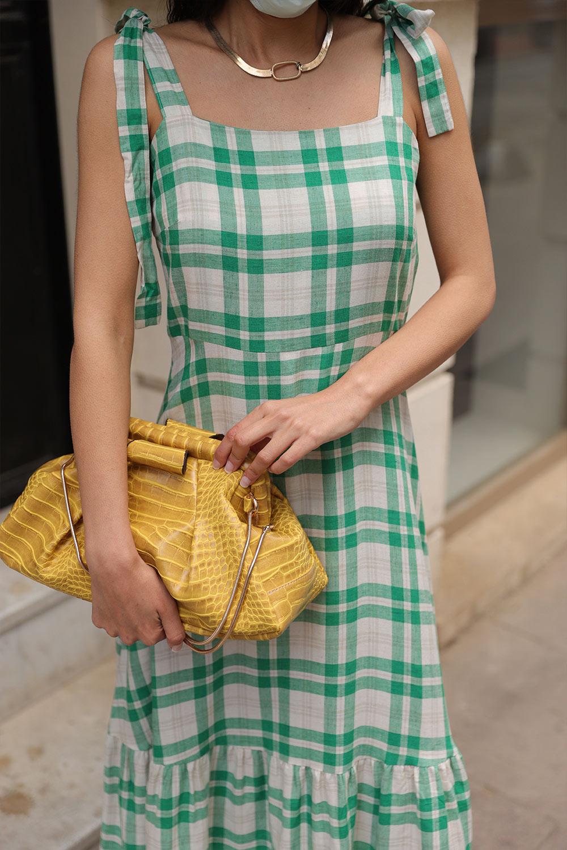 KURDELE ASKILI Yeşil Kadın Elbise