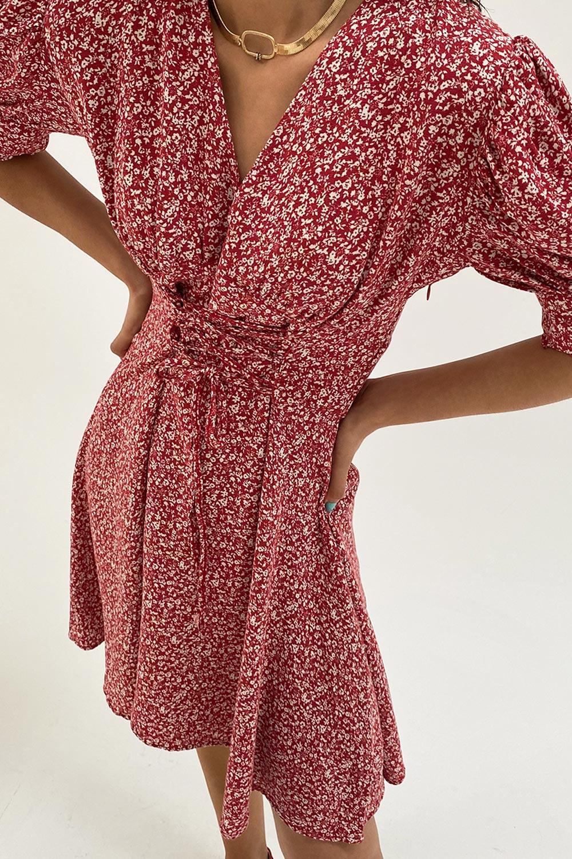 ÇITIR DESENLİ Kırmızı Kadın Elbise