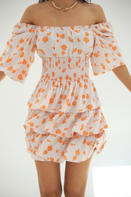 Çiçek Desenli Gipeli Cream Kadın Elbise