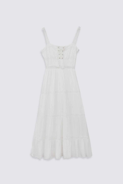 DANTEL DETAYLI VİSKON Beyaz Kadın Elbise