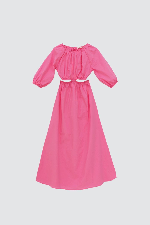 Beli Dekolteli Uzun Kollu Pembe Kadın Elbise