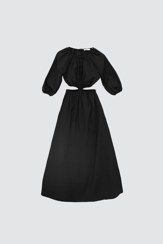 Beli Dekolteli Uzun Kollu Siyah Kadın Elbise
