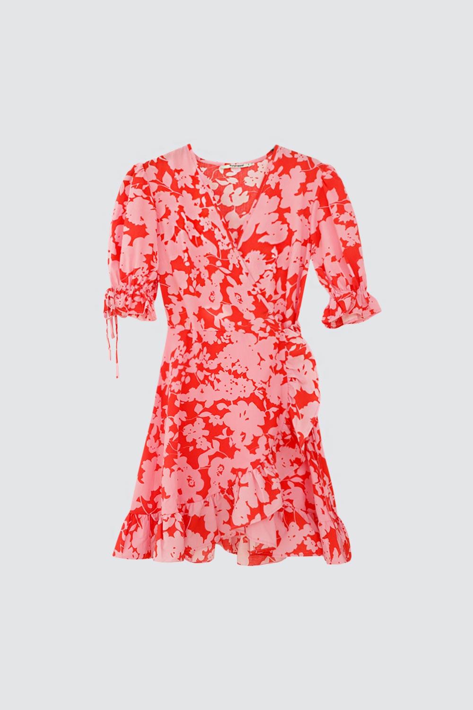 Çiçek Desenli Kruvaze Yaka Pembe Kadın Elbise