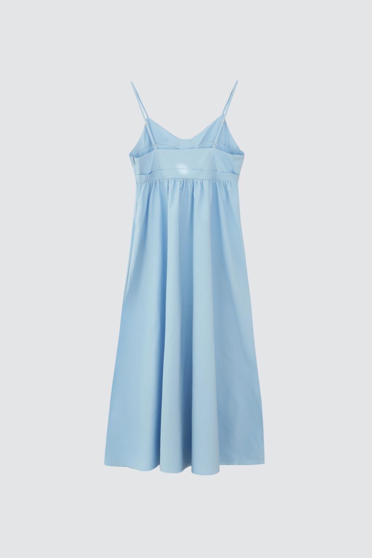 İnce Askılı Kiloş Etekli Mavi Kadın Elbise