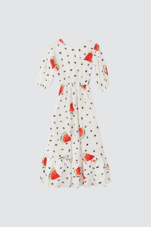 Karpuz Desenli Uzun Kollu Beyaz Kadın Elbise