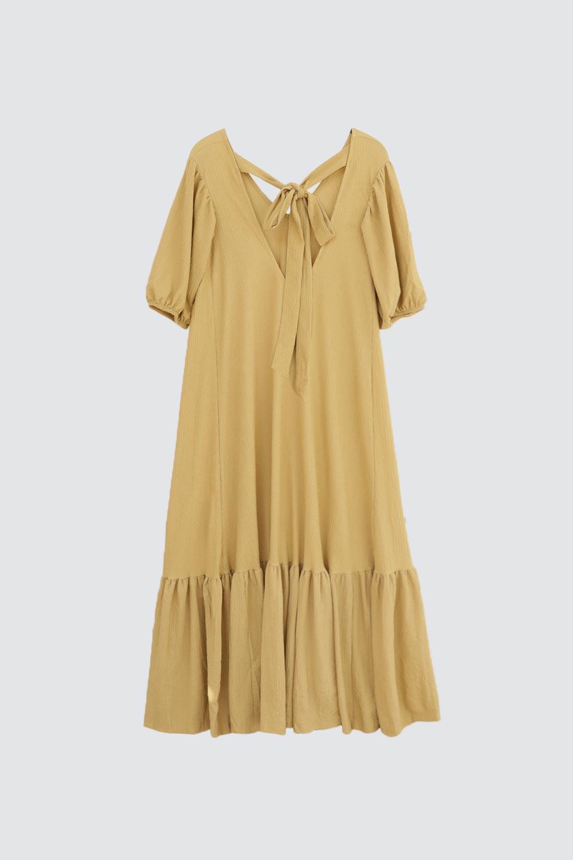 V Yaka Volanlı Uzun Haki Kadın Elbise