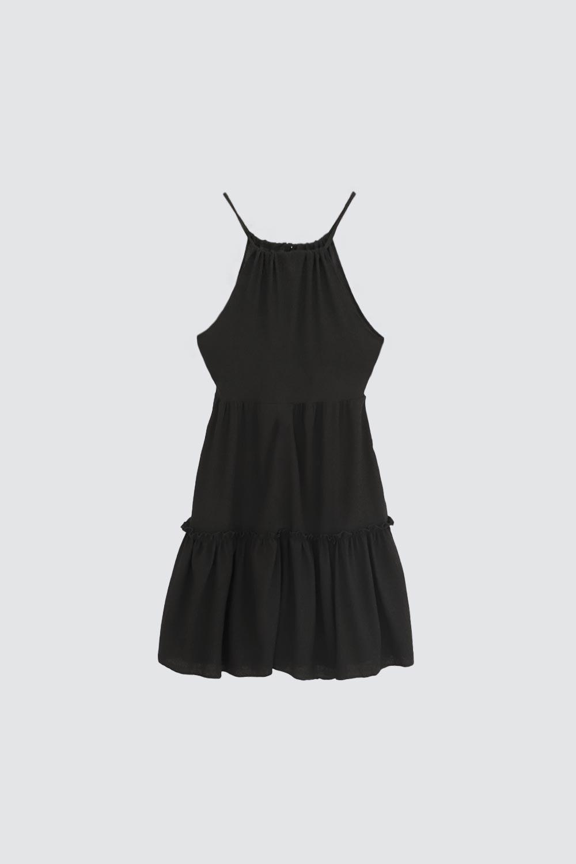 İnce Askılı Volanlı Siyah Kadın Elbise