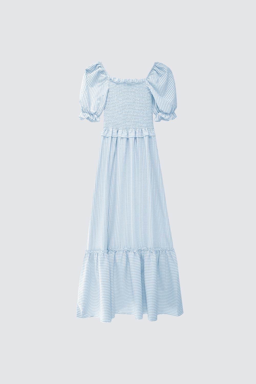 Pötikare Balon Kollu Uzun Mavi Kadın Elbise