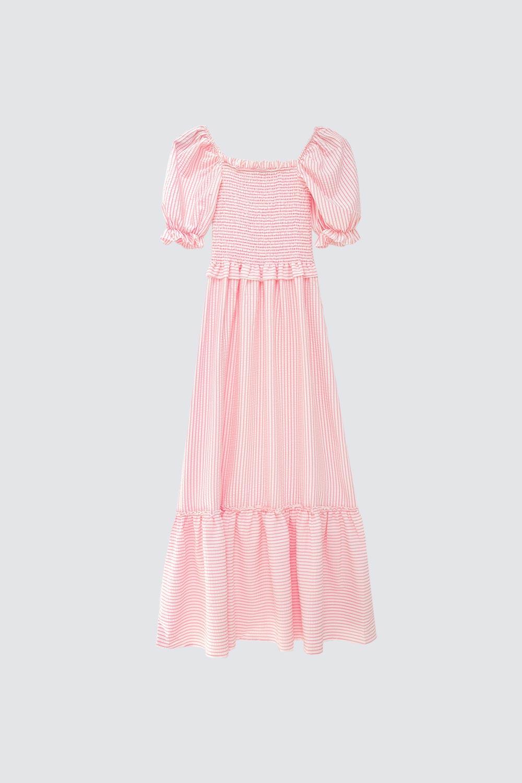 Pötikare Balon Kollu Uzun Pudra Kadın Elbise