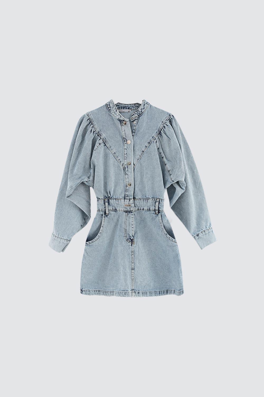 Hakim Yaka Denim Mavi Kadın Elbise