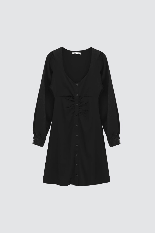 Düğmeli Açık Yaka Siyah Kadın Elbise