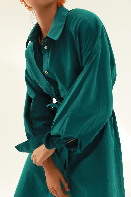 Belden Lastikli Gömlek Koyu Yeşil Kadın Elbise