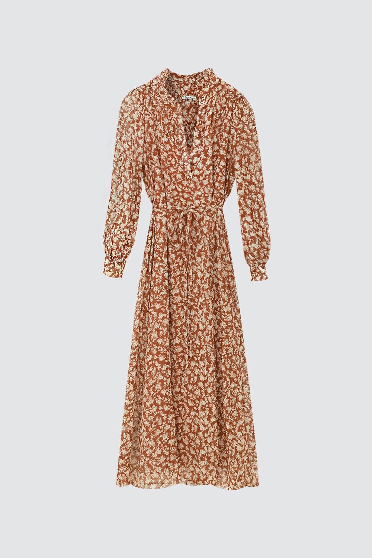 Dokuma Çiçek Desenli Kahve Kadın Elbise