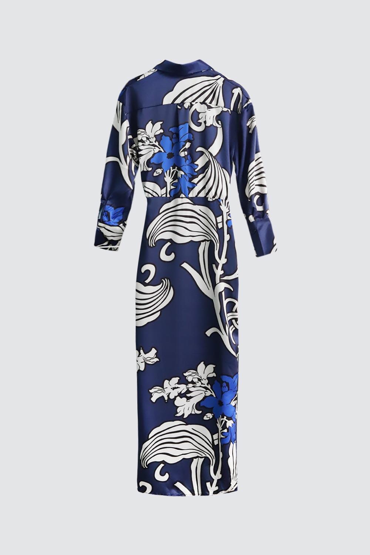 Kruvaze Yaka Çiçek Desenli Gömlek Lacivert Kadın Elbise