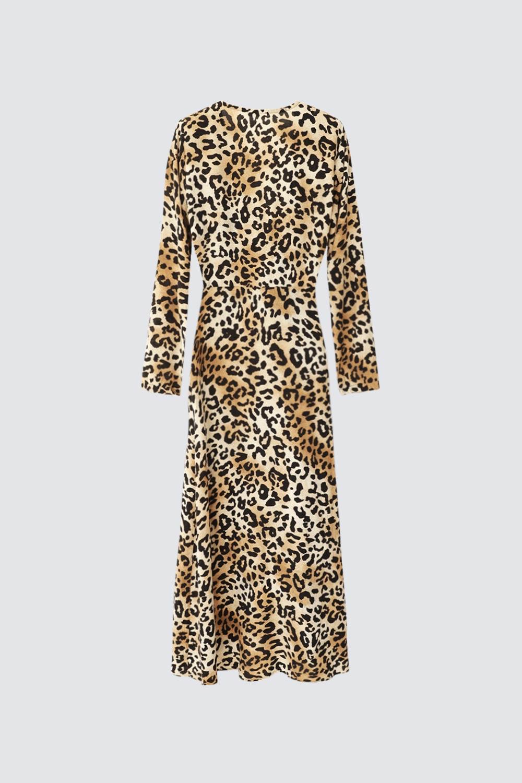 Kruvaze Yaka Belden Bağlamalı Leopar Kadın Elbise