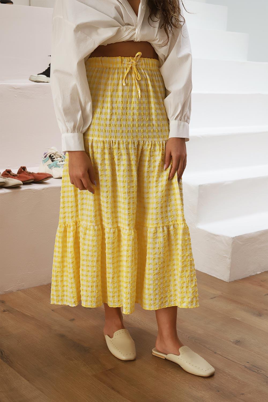 Pötikare Belden Lastikli Kloş Sarı Kadın Etek