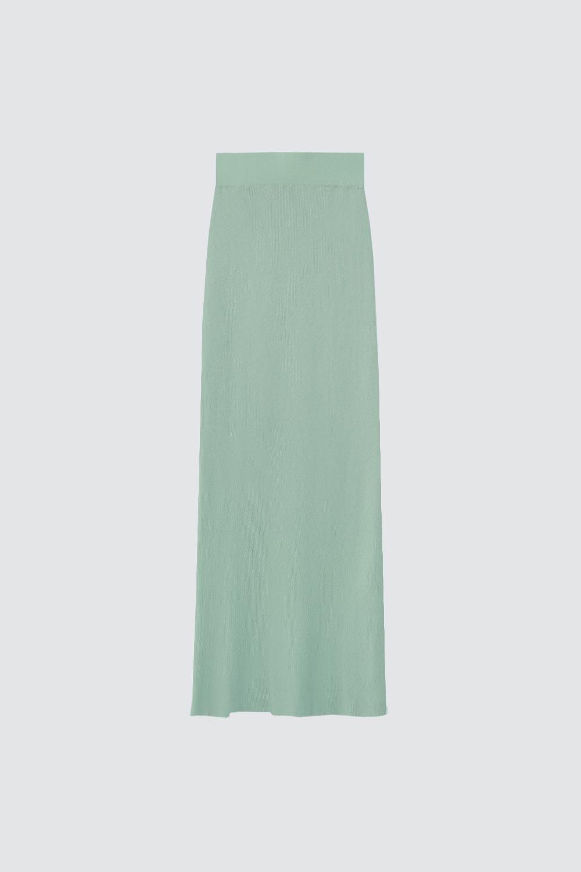 Fitilli Yırtmaçlı Uzun Mint Yeşil Kadın Etek