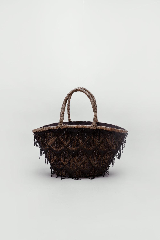 Favian Payet İşlemeli Hasır Siyah Kadın Çanta
