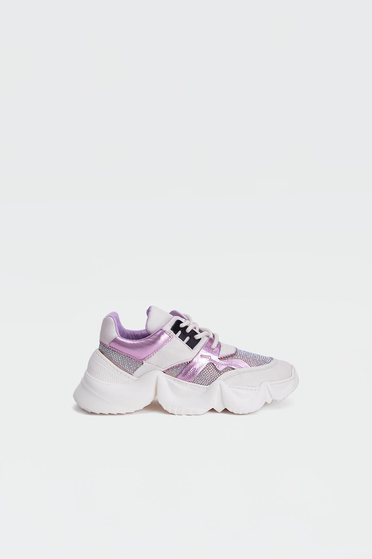 Felix Gerçek Deri Sneakers Yüksek Taban Taşlı Pembe Kadın Spor