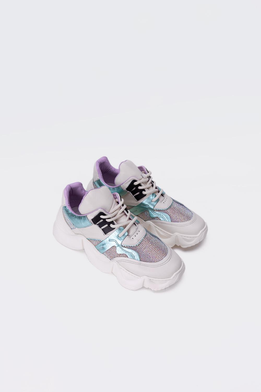 Felix Gerçek Deri Sneakers Yüksek Taban Taşlı Su Yeşili Kadın Spor