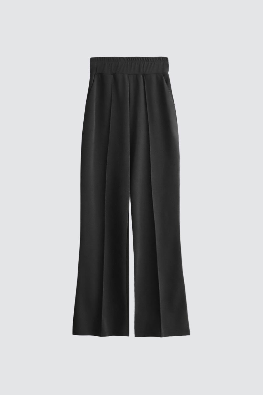 Geniş Paça Çizgi Detaylı Siyah Kadın Denim / Pantolon