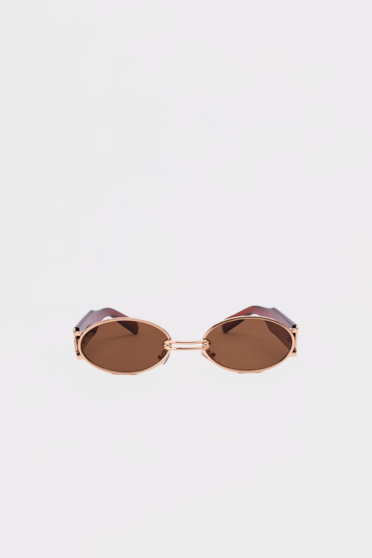 Gold Çerçeve Detaylı Kalın Kemikli Kahve Kadın Gözlük