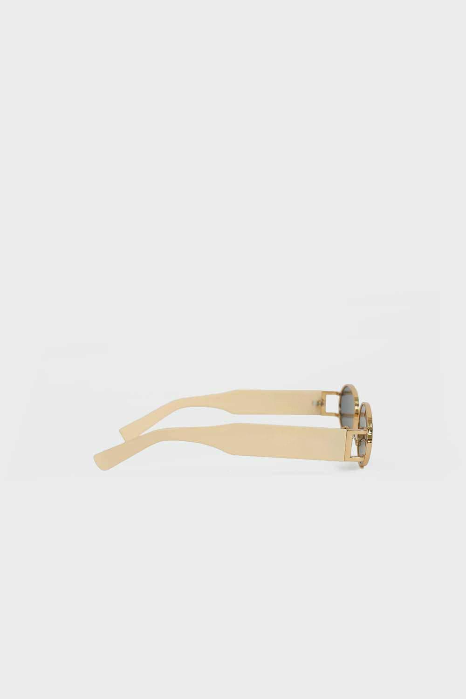 Gold Çerçeve Detaylı Kalın Kemikli Koyu Nude Kadın Gözlük