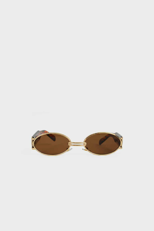 Gold Çerçeve Detaylı Kalın Kemikli Leopar Kadın Gözlük