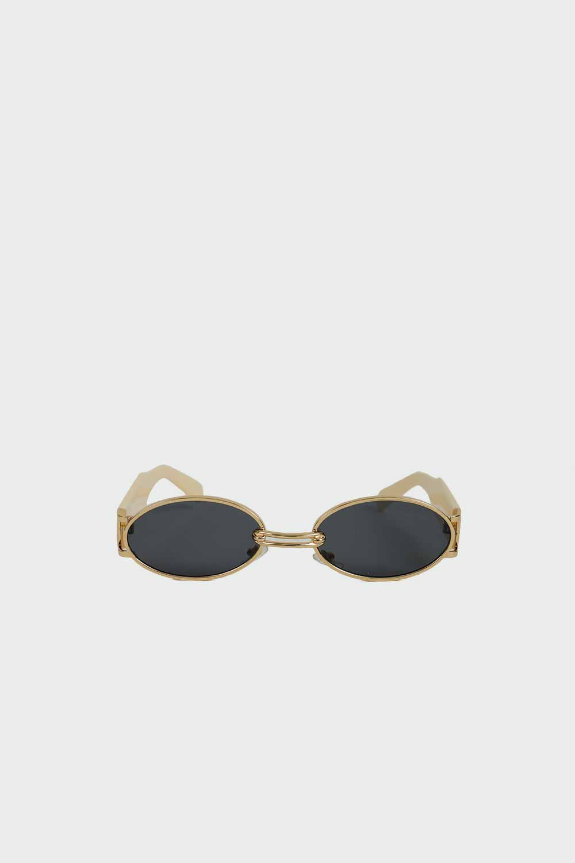 Gold Çerçeve Detaylı Kalın Kemikli Nude Kadın Gözlük