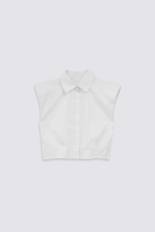 VATKALI CROP Beyaz Kadın Gömlek