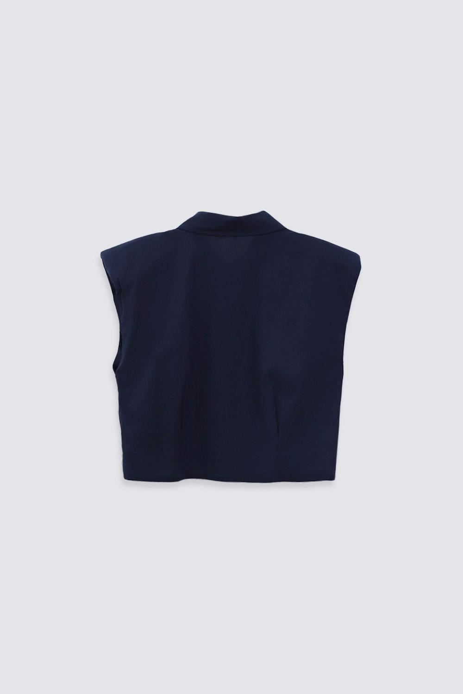 VATKALI CROP Lacivert Kadın Gömlek