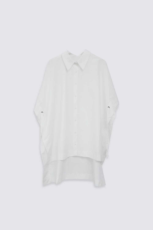 ASİMETRİK KESİM İP DETAYLI Kırık Beyaz Kadın Gömlek