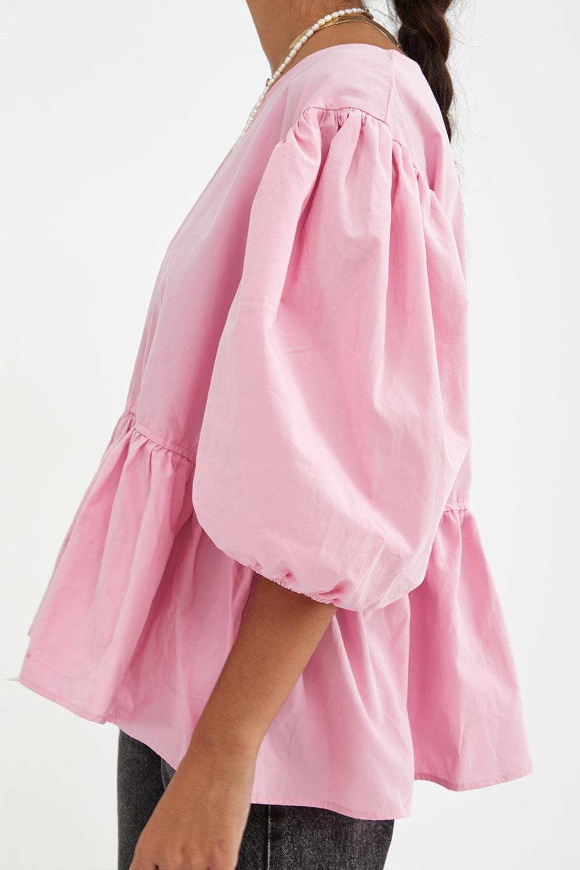 Balon Kollu Volanlı Sırt Detaylı Pembe Kadın Gömlek